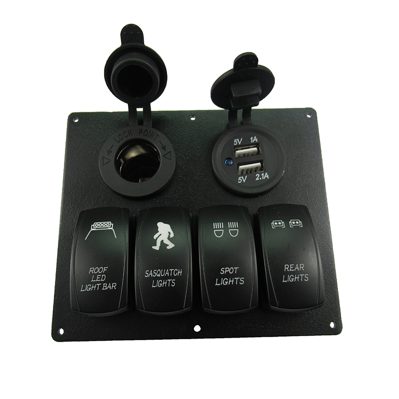 Waterproof 4 Gang LED Marine Boat Car Rocker Switch Panel With Dual USB And Power Socket